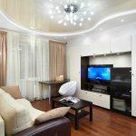 Фото 99: Современный декор гостиной с натяжным потолком