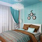 Фото 74: Спальня в бирюзовых тонах