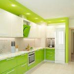 Фото 57: Наятжной потолок в интерьере кухни
