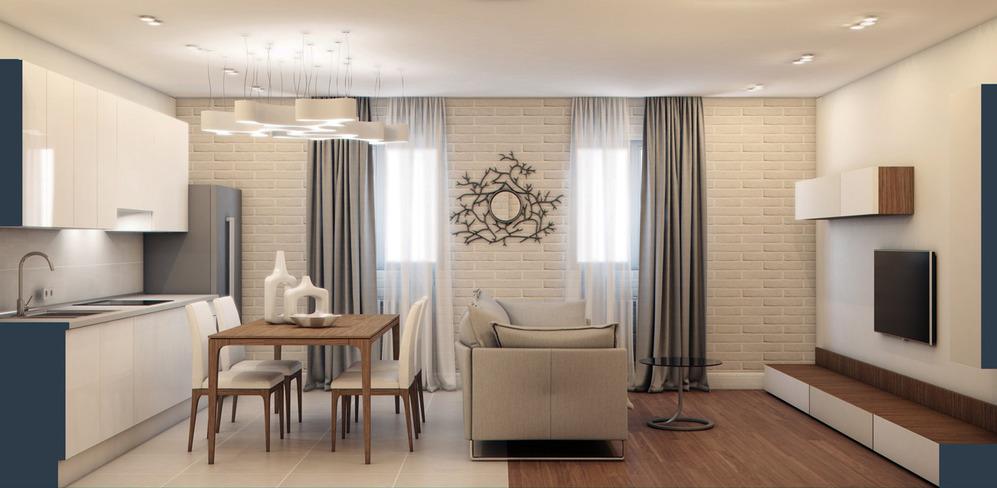 Освещение в совмещенной кухне и гостиной