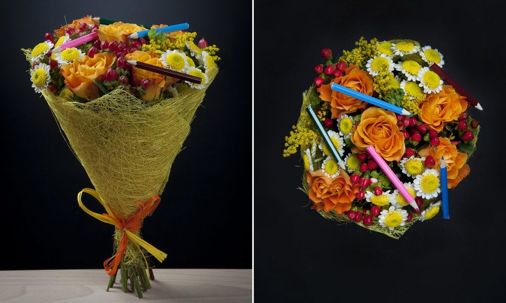 Композиция из цветов и карандашей на 1 сентября