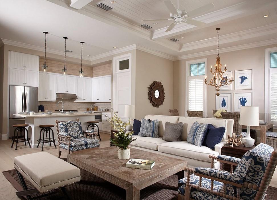 Удобное совмещение кухни с гостиной в современном интерьере