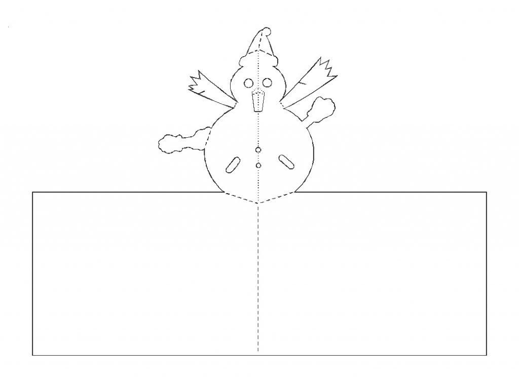 Открытка киригами со снеговиком