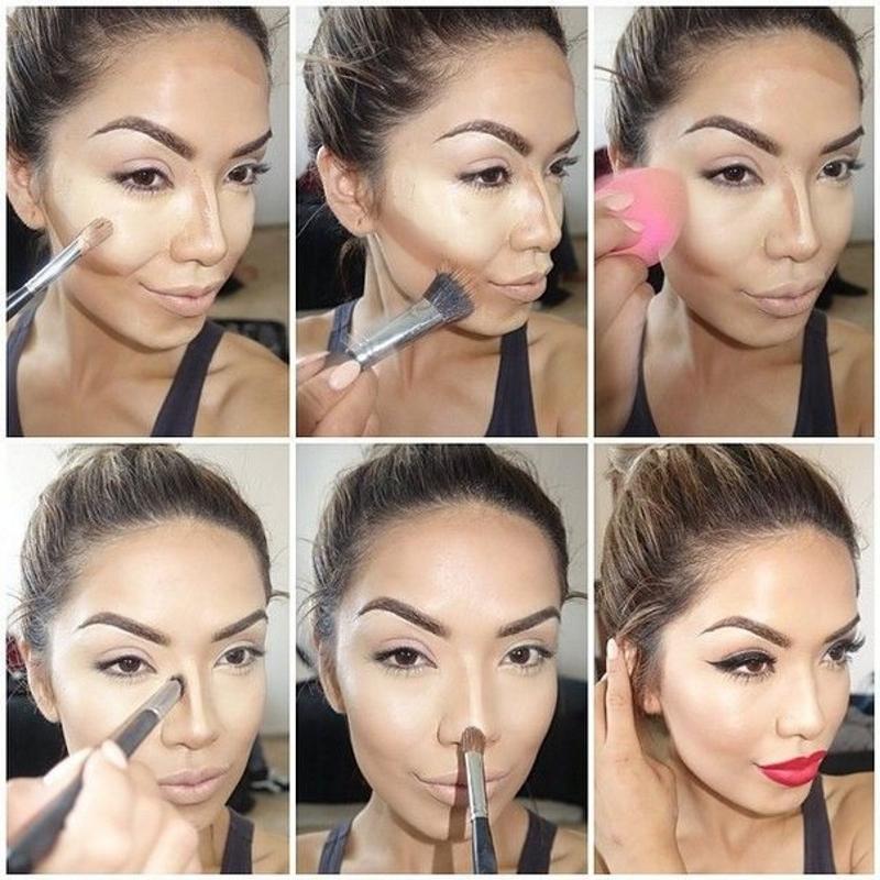 Контурирование, яркие брови и губы