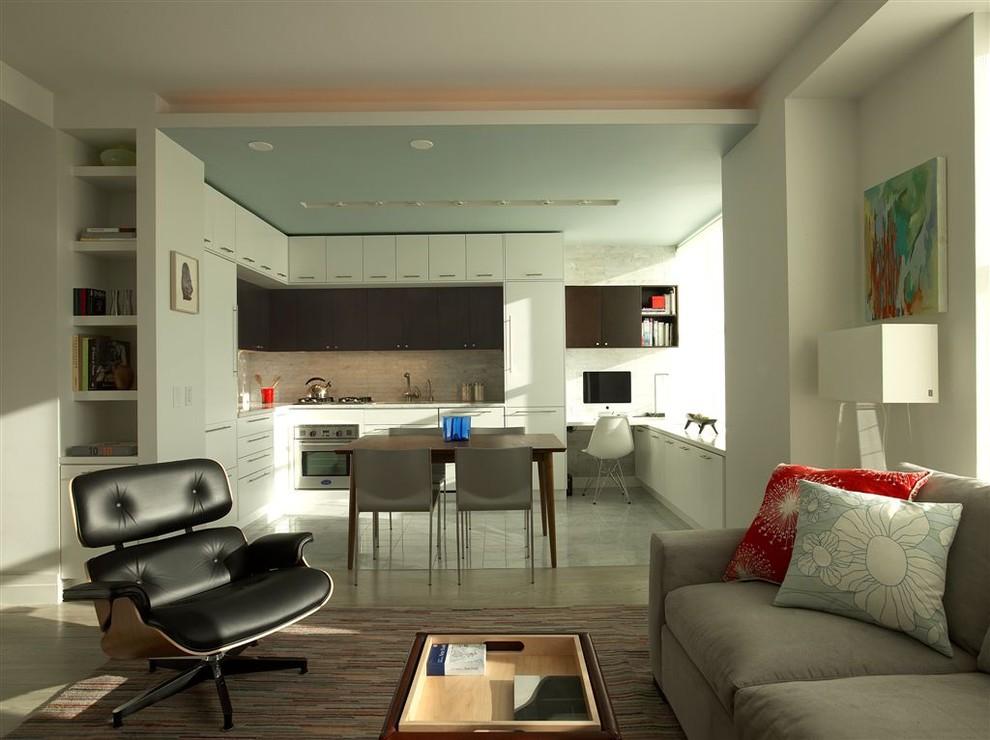 Единый интерьер кухни с гостиной