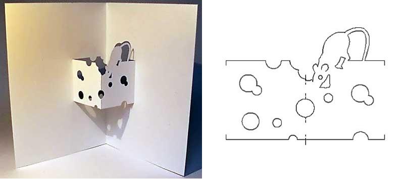 Открытка с мышкой–киригами
