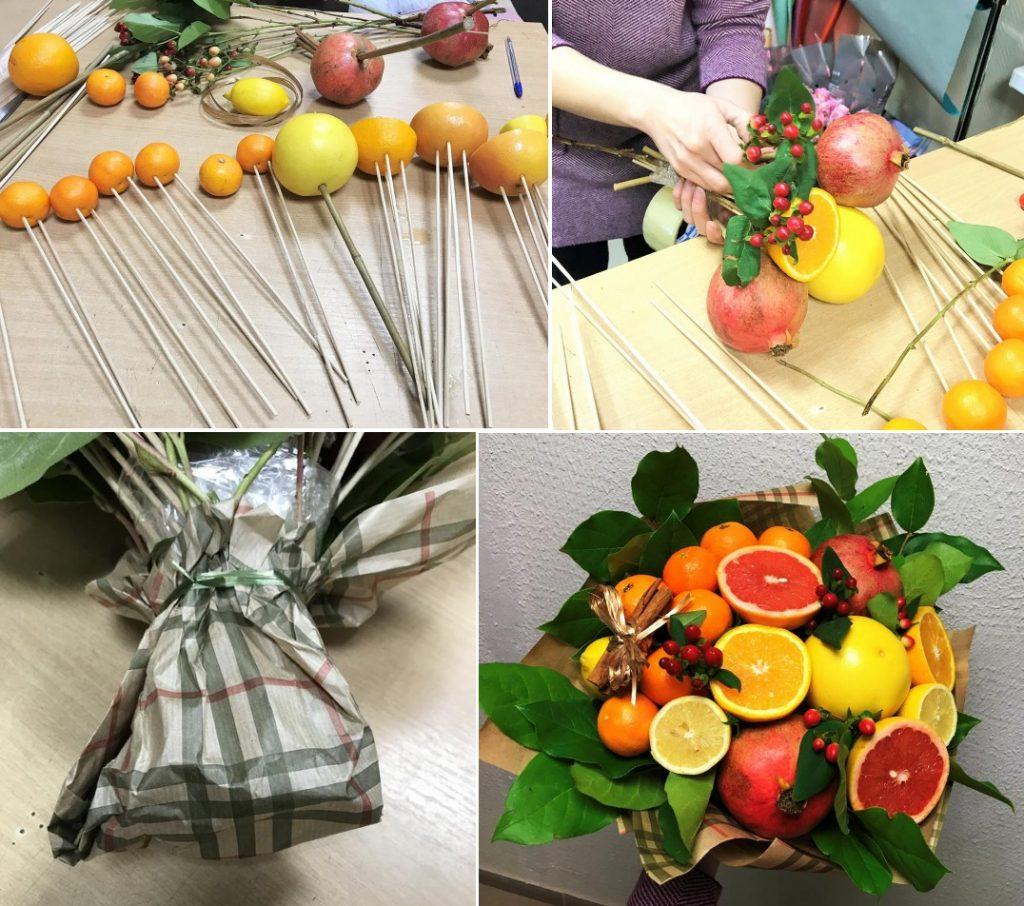 Изготовление букета из фруктов