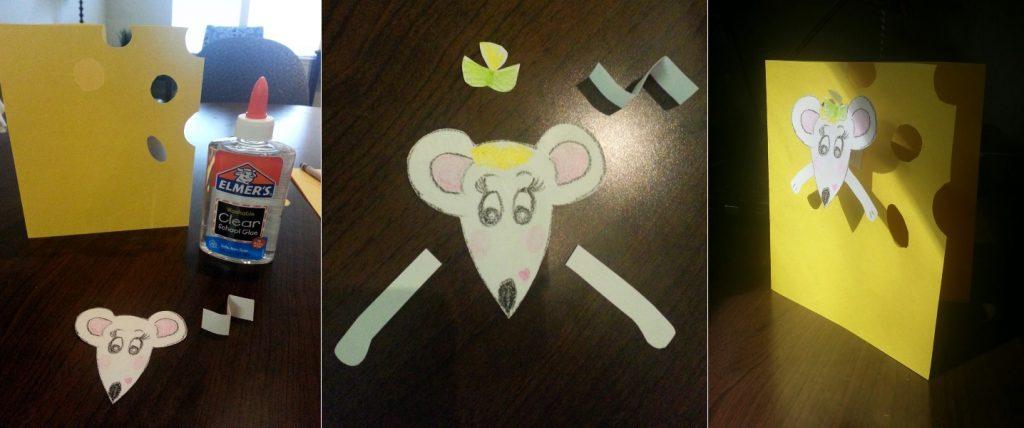 Объемная открытка мышка в сыре