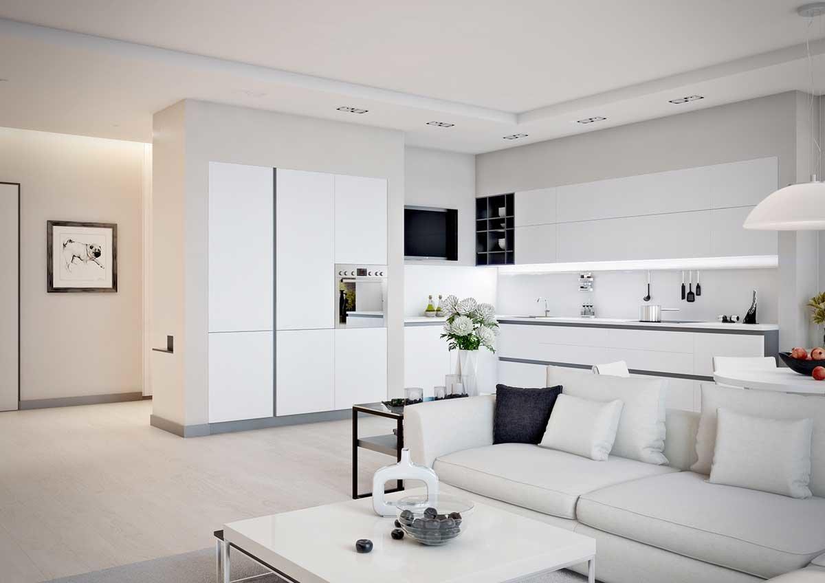 Кухня, совмещенная с гостиной в белых тонах
