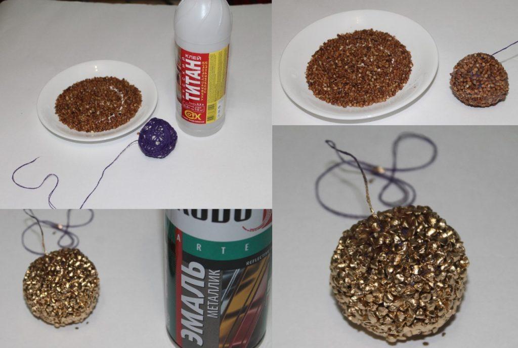 Сделать елочный шарик из крупы
