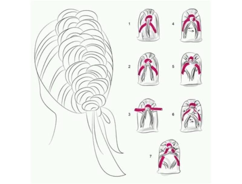 Схема косички с лентой