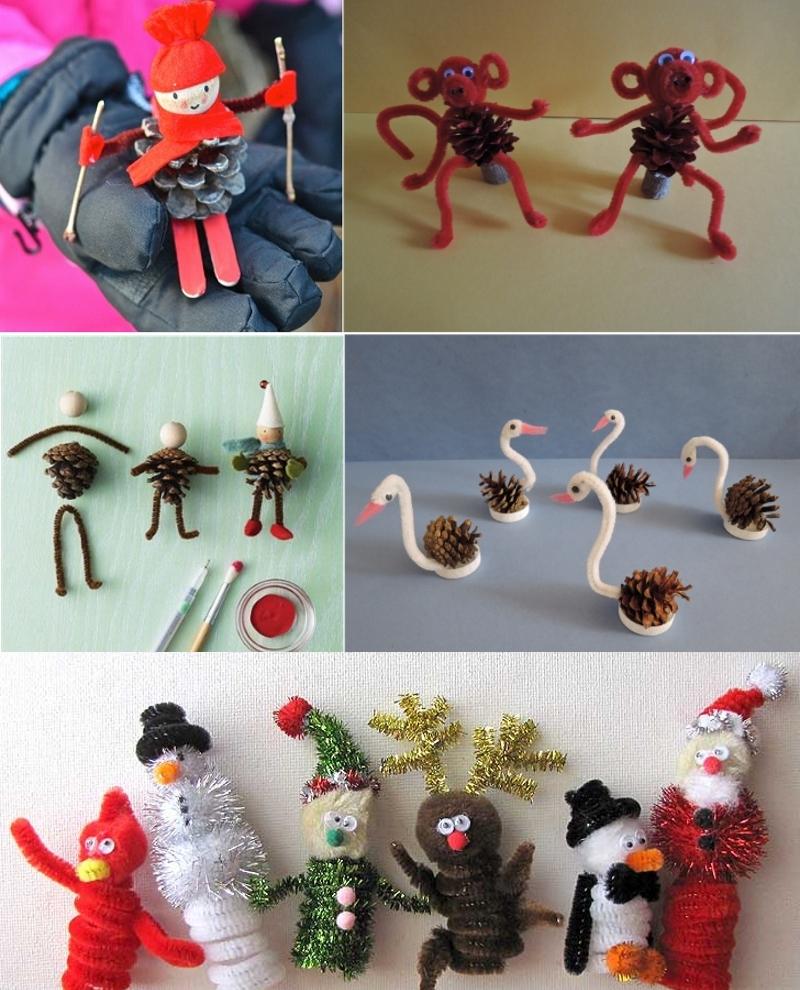 Новогодние игрушки из шишек и синельной проволоки своими руками