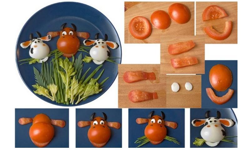 Закуски из яиц и помидоров Год Быка