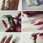 Фото 125: Голубой дизайн ногтей с фольгой