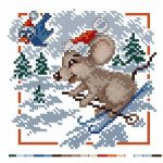 Фото 81: Вышивка Мышка на лыжах