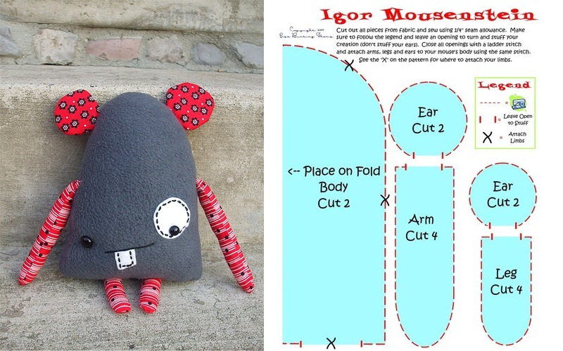Подушка Мышка пэчворк