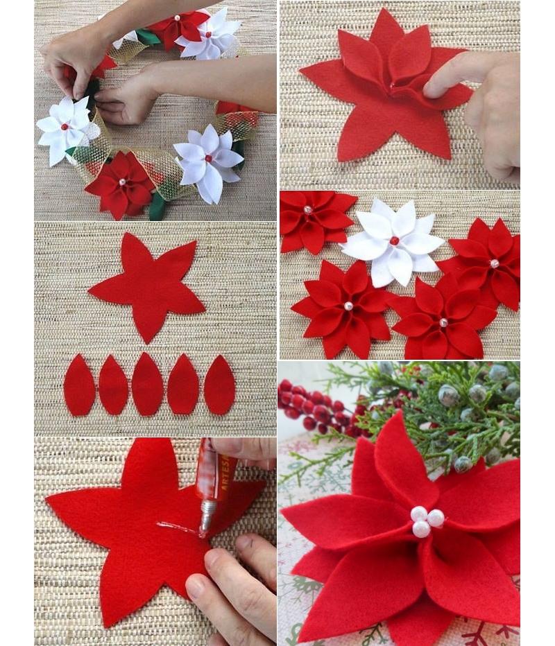 Цветы пуансеттии из фетра своими руками