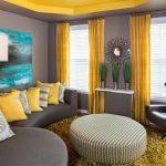 Фото 52: Жёлтые шторы в гостиной