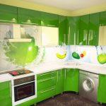 Фото 62: Кухонный гарнитур зелёного цвета