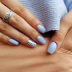 Фото 52: Нежно голубой пастельный маникюр