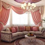 Фото 70: Розовые шторы в гостиную
