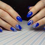 Фото 65: Синий маникюр