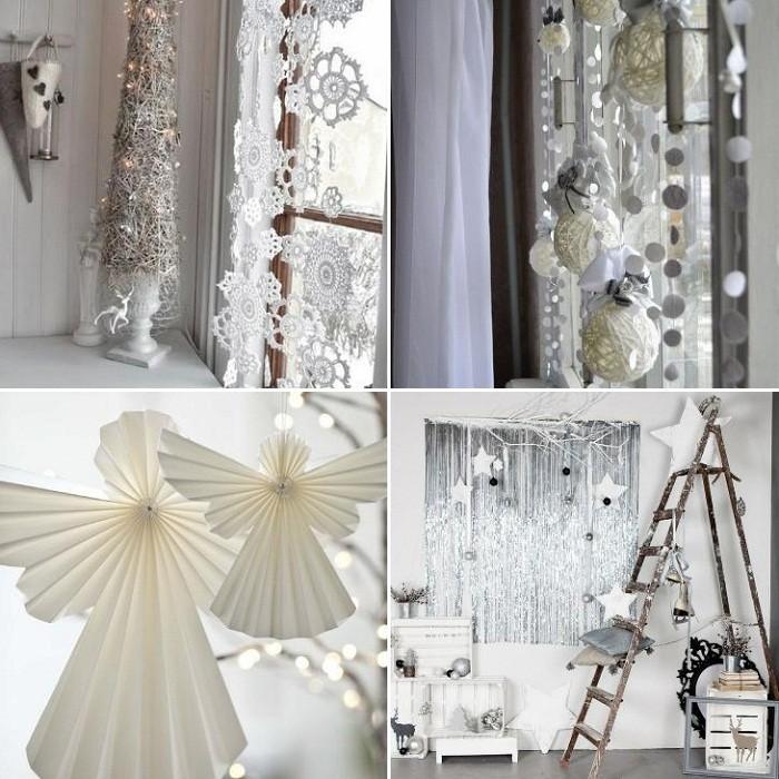 Белый декор окна на Новый Год
