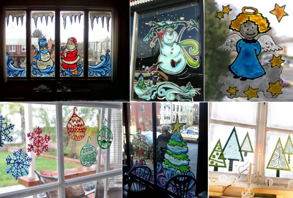 Цветные новогодние рисунки на окне своими руками