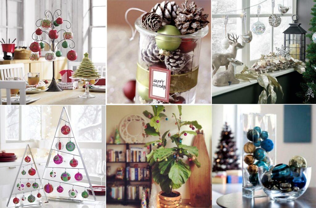 Новогодний декор дома елочными шарами