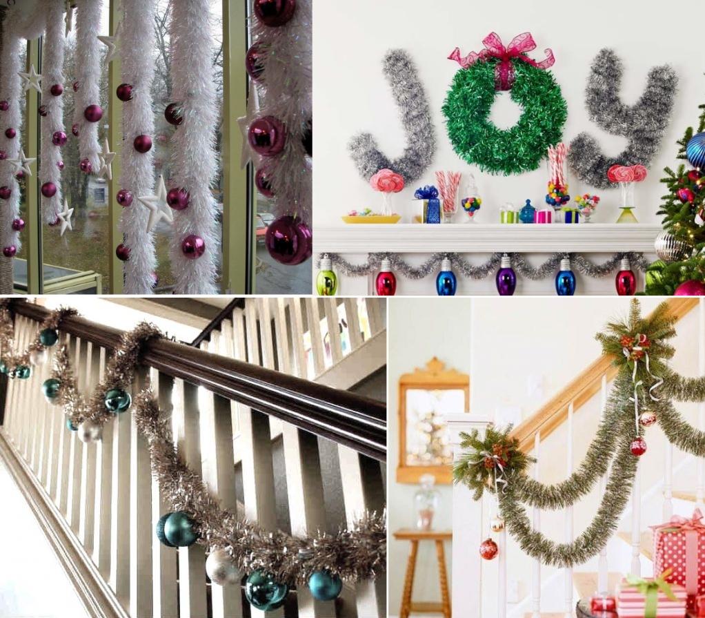 Новогоднее украшение дома мишурой