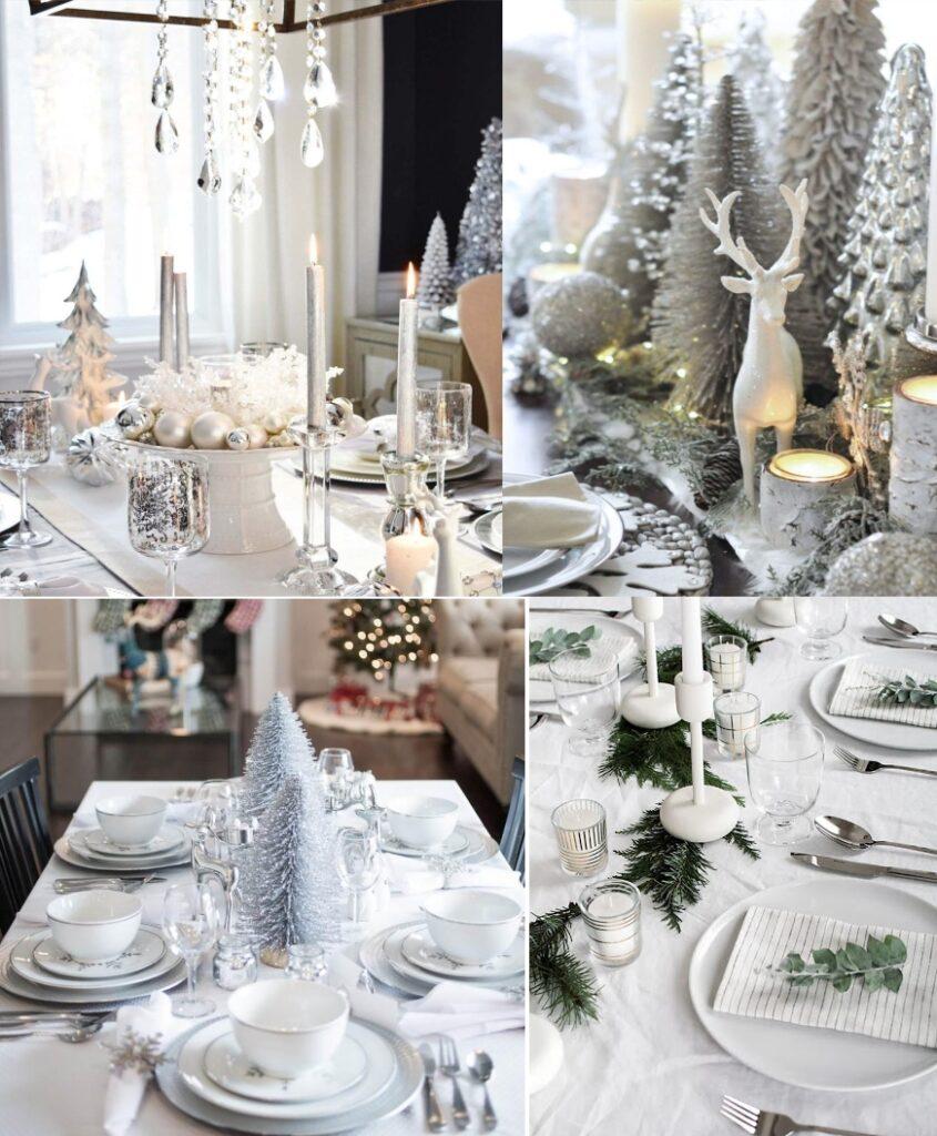 Белый новогодний декор стола 2021