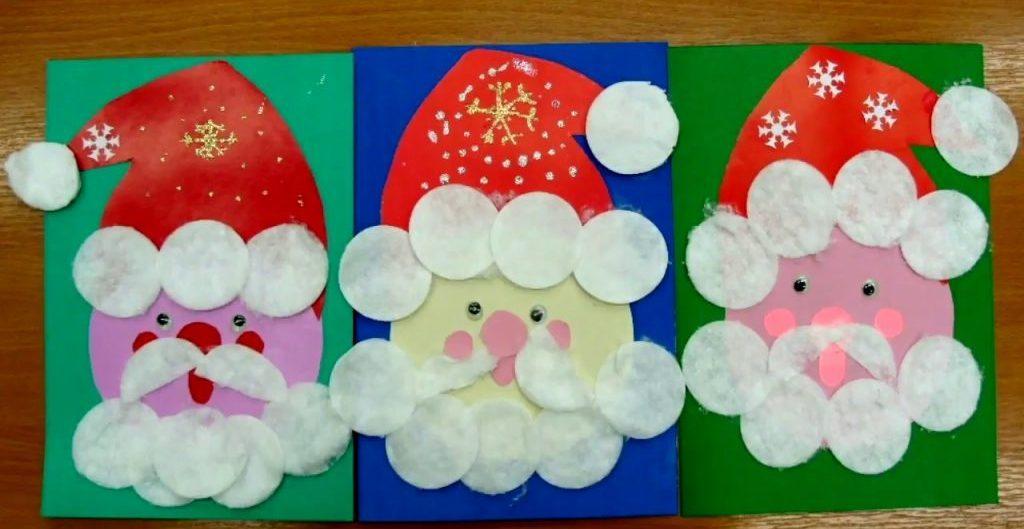 Новогодняя аппликация Дед Мороз из ватных дисков