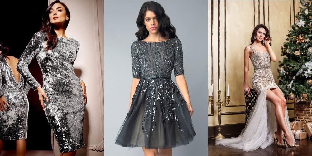 Серые новогодние платья с блестками