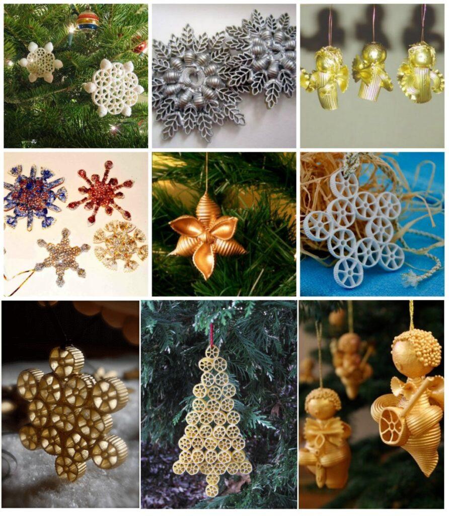 Игрушки на елку из макарон своими руками на Новый Год