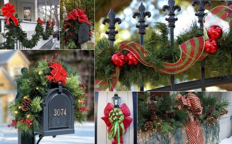 Новогоднее украшение еловыми гирляндами элементов двора