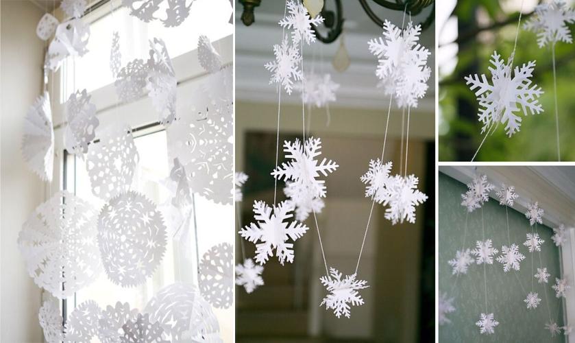 Гирлянды из снежинок на окно