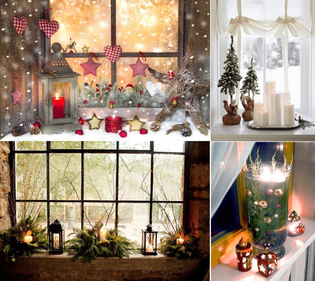 Новогодний декор подоконника свечами