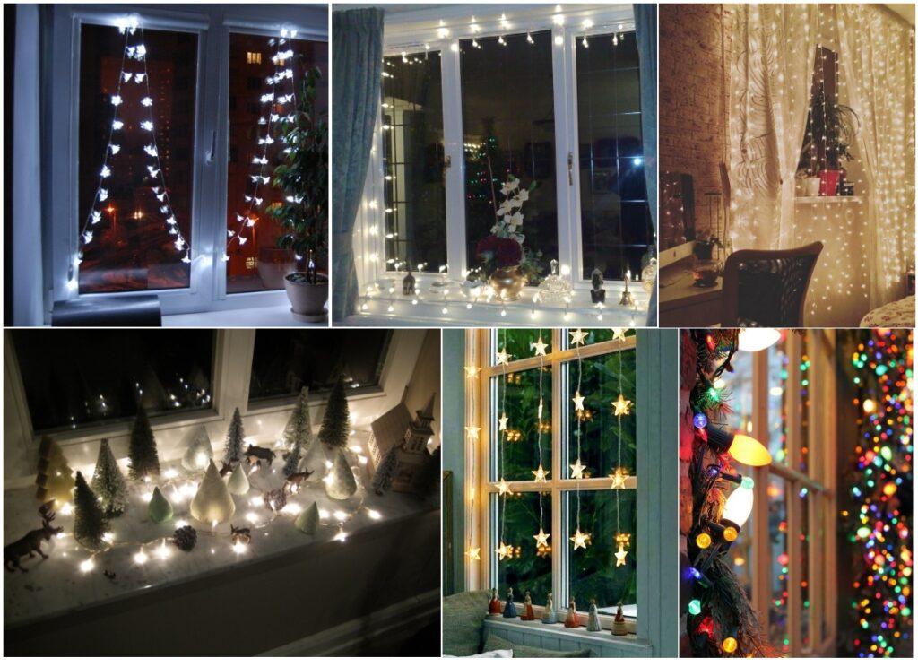 Новогоднее украшение окна гирляндами