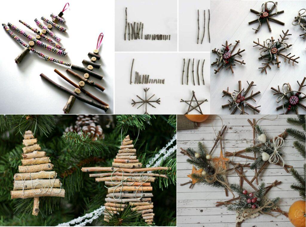 Новогодние игрушки из веток на елку своими руками
