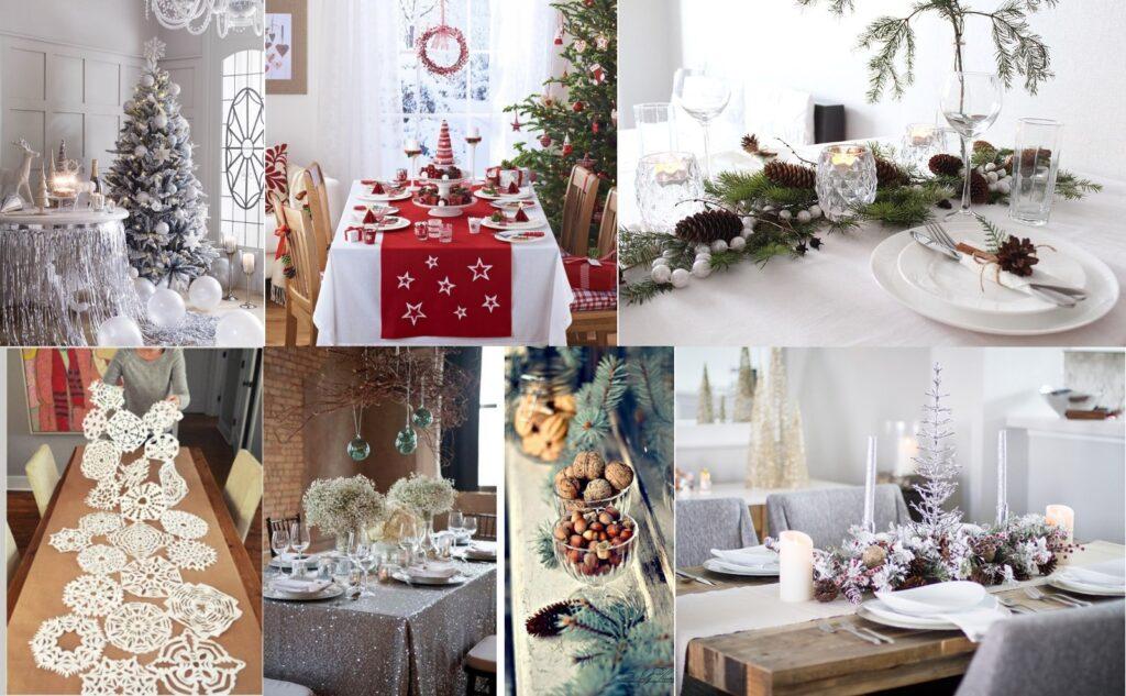 Новогодний декор стола и скатерти