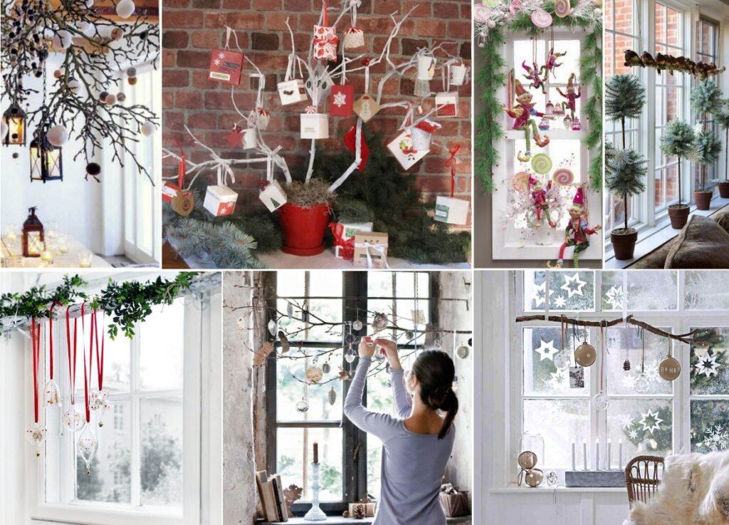 Новогодний декор окна ветками своими руками