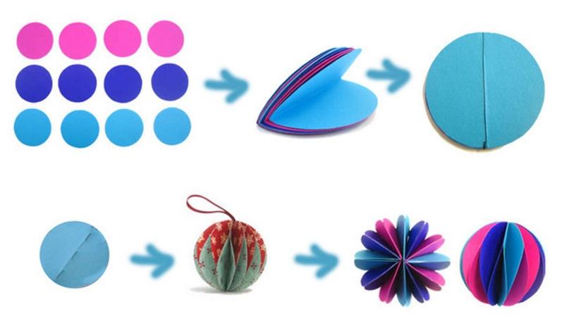 Объемный бумажный шарик из кругов бумаги