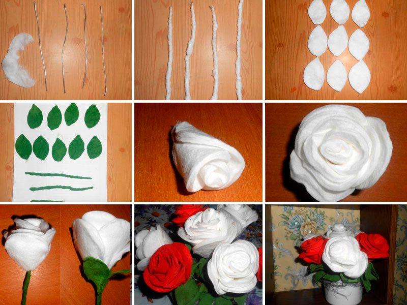 Розы из ватных дисков своими руками