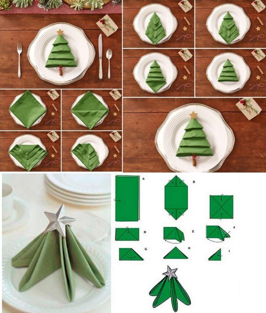 Сложить новогодние салфетки в виде елочек