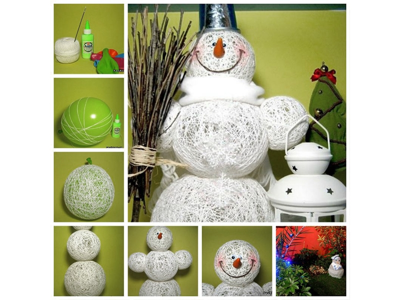 Снеговик из ниток и шарика своими руками