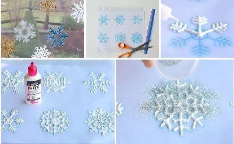 Снежинки на окне из клея