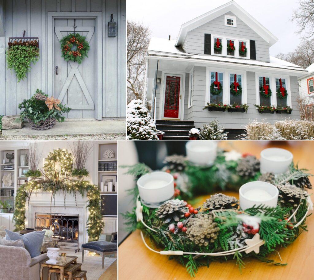 Украшение дома новогодними венками
