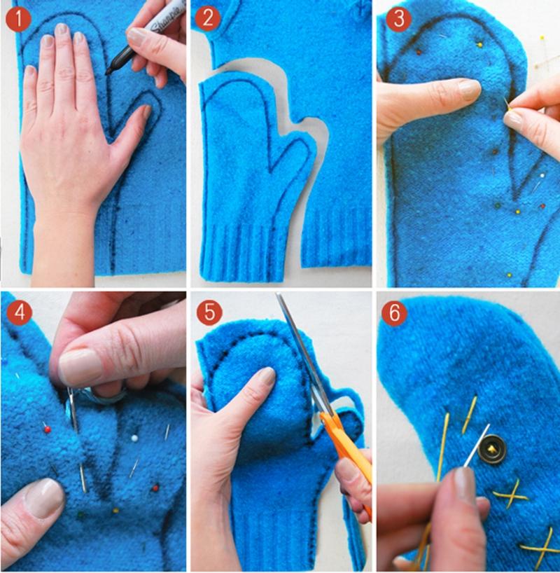 Сшить варежки из старого свитера своими руками новогодние