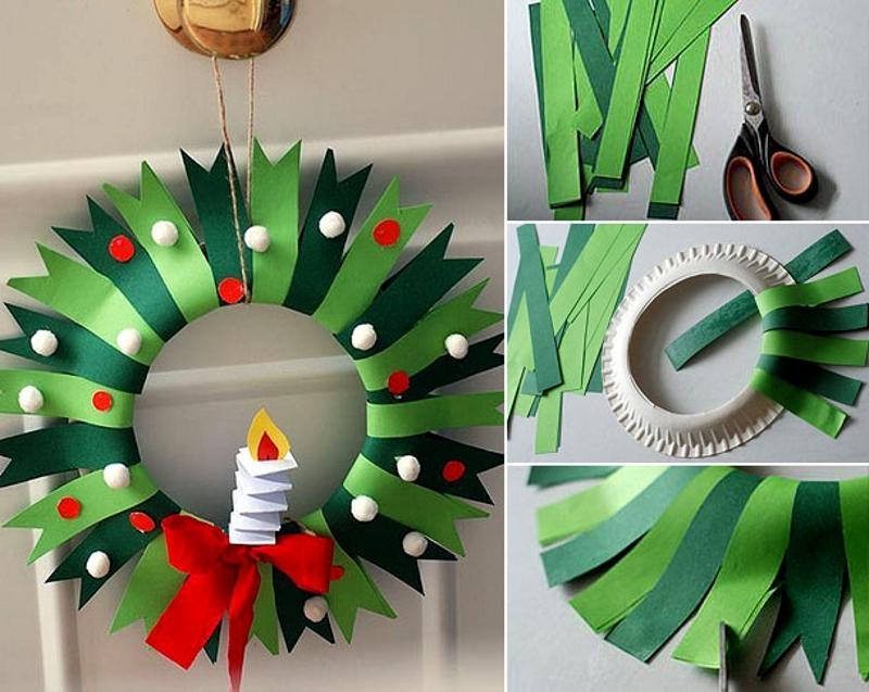 Новогодний венок из бумажных тарелок и цветной бумаги своими руками