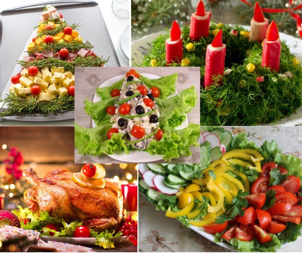 Декор новогоднего стола зеленью